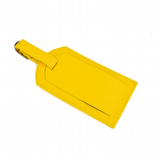 Leather Luggage Tag - Yellow